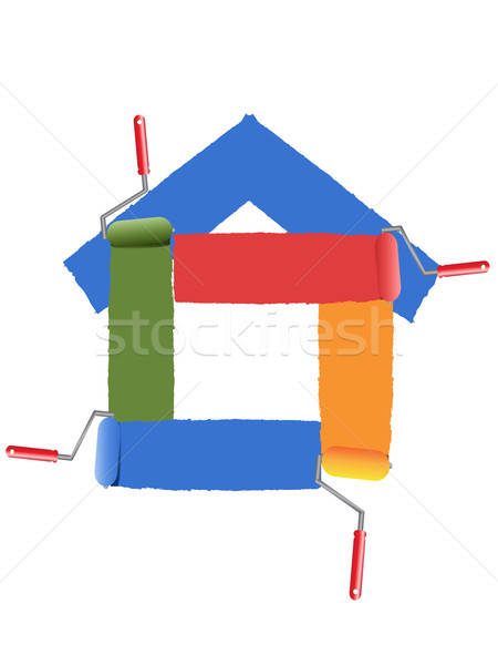 Pintura símbolo casa negócio casa edifício Foto stock © huhulin