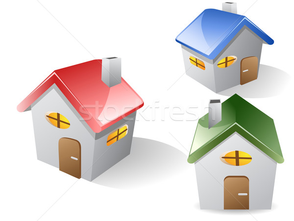 three 3d house  Stock photo © huhulin