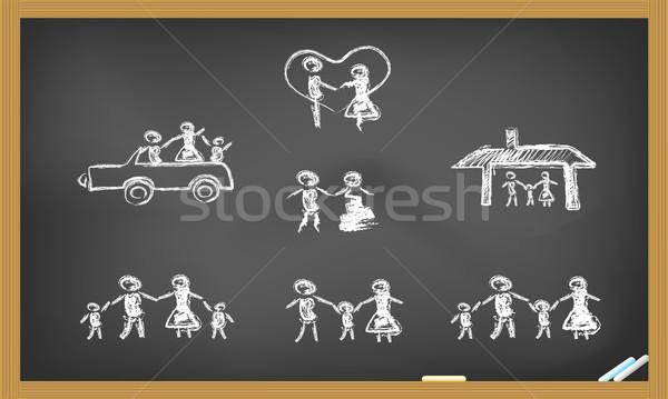 Rabisco família feliz lousa mulher família casa Foto stock © huhulin