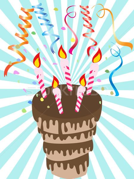 çikolata doğum günü pastası parti doğum günü mum renk Stok fotoğraf © huhulin