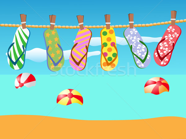 Beach sandals hanged on a rope Stock photo © huhulin