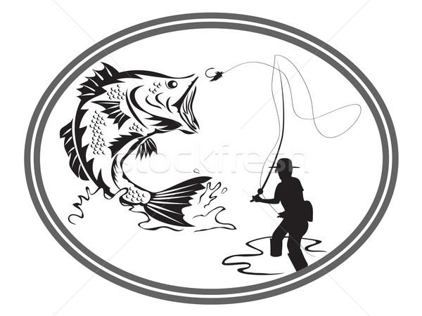 fishing bass emblem Stock photo © huhulin