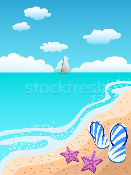 Sandálias praia bem-vindo verão céu paisagem Foto stock © huhulin