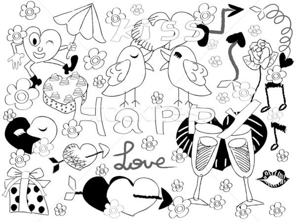 Karalama Sevgililer Günü Siyah Dizayn Sanat Kek Vektör