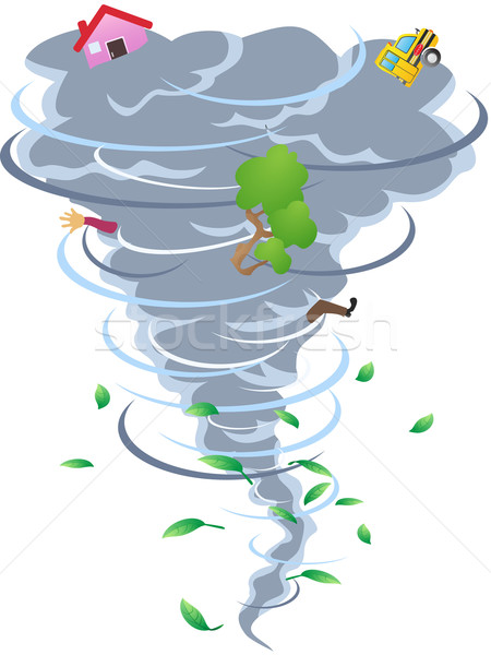 знак торнадо Cartoon стиль дома автомобилей Сток-фото © huhulin