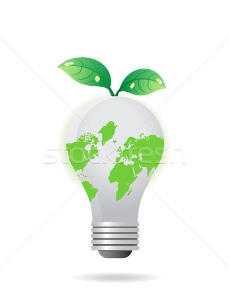 Stockfoto: Globale · gloeilamp · bladeren · eenvoudige · icon · boom