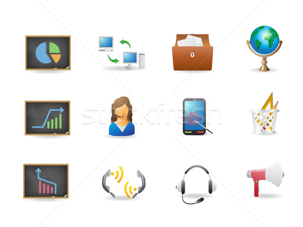 Foto stock: Escritório · negócio · ícones · projeto · computador · telefone