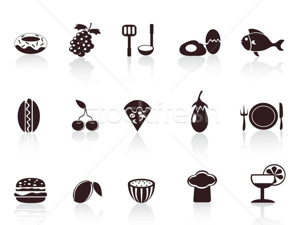 ストックフォト: 黒 · 食品 · アイコン · いくつかの · デザイン · 魚