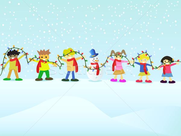Zdjęcia stock: Grupy · dzieci · christmas · ręce · sportu · śniegu