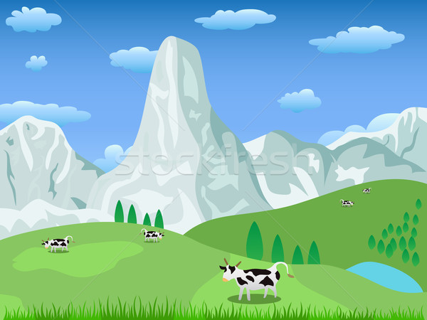 mountain landscape and pasture Stock photo © huhulin