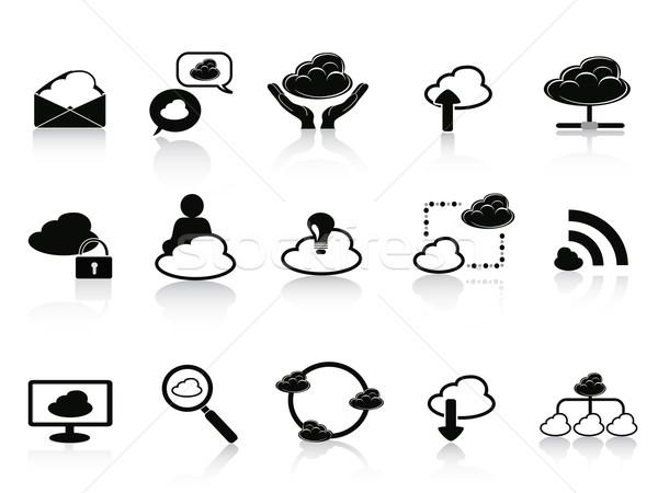 ストックフォト: 黒 · クラウドネットワーク · 孤立した · 白 · 手