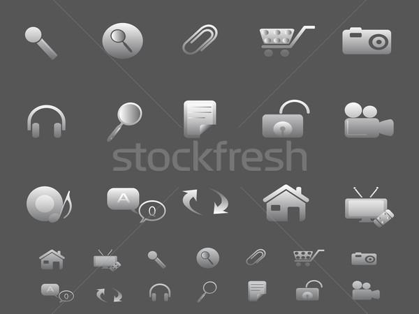 веб Интернет иконы набор серый компьютер бумаги Сток-фото © huhulin