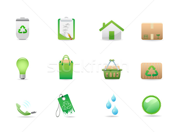 green eco icons Stock photo © huhulin