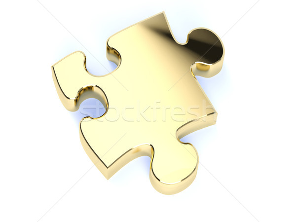 Altın bilmece model gölge beyaz arka plan Stok fotoğraf © hyrons