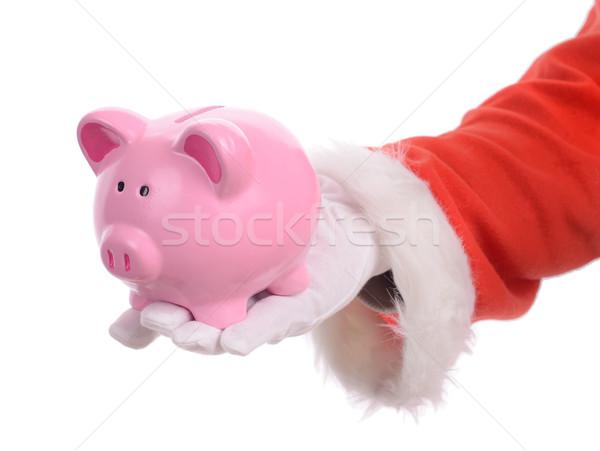 Mikulás megtakarított pénz ki érme persely karácsony Stock fotó © hyrons