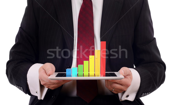 3d chart on tablet Stock photo © hyrons