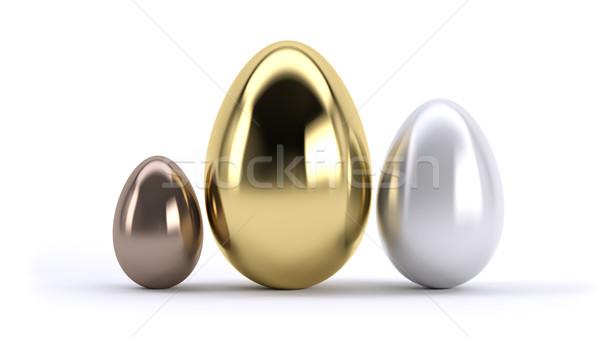 üç yumurta ödül yumurta altın gümüş Stok fotoğraf © hyrons