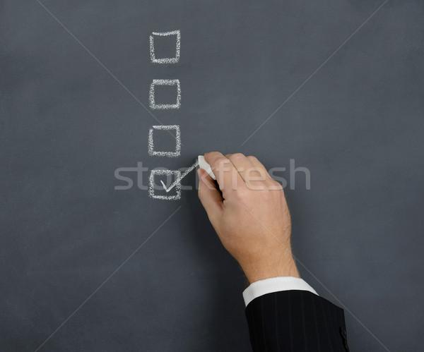 Kutu tebeşir tahta kâğıt kalem öğretmen Stok fotoğraf © hyrons