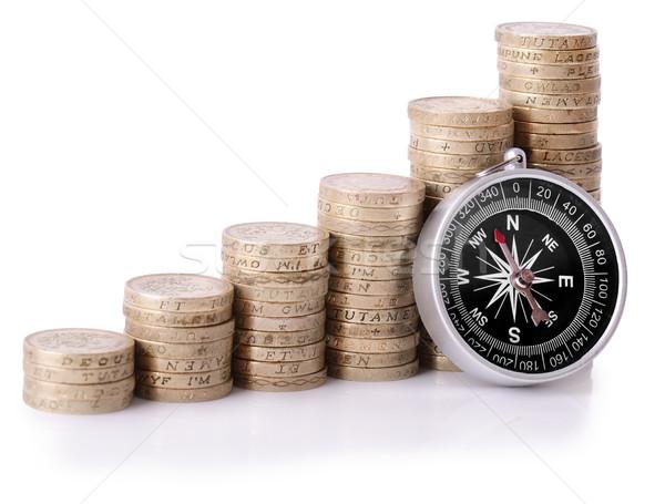 Para yön pusula madeni para yalıtılmış Stok fotoğraf © hyrons