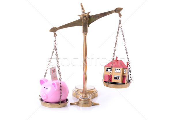 piggy bank house scales Stock photo © hyrons