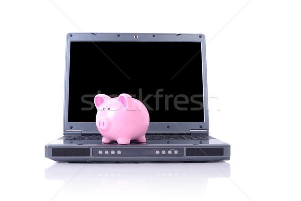 çevrimiçi tasarruf kumbara dizüstü bilgisayar yalıtılmış beyaz Stok fotoğraf © hyrons