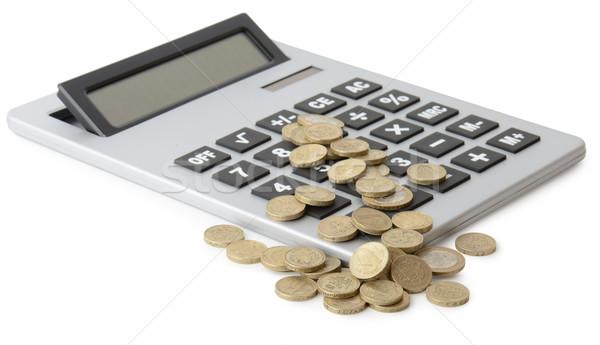 Para madeni para hesap makinesi yalıtılmış beyaz Stok fotoğraf © hyrons