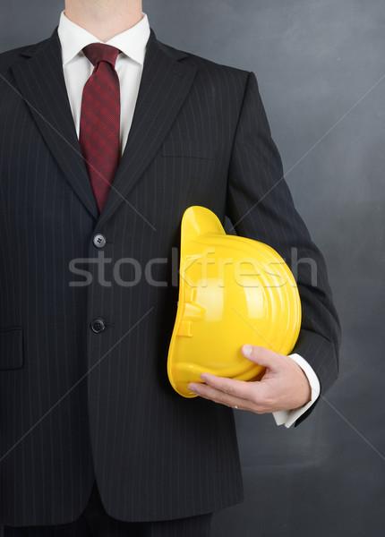 Okos építkezés profi munkás sisak kész Stock fotó © hyrons