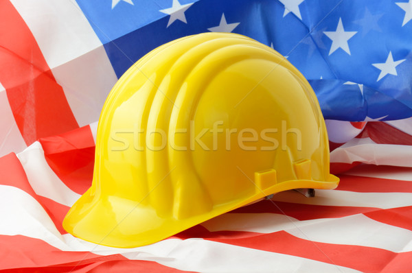 Amerikan inşaat amerikan bayrağı simge bayrak Stok fotoğraf © hyrons