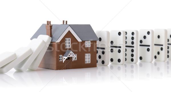 Domino ev inşaat gayrimenkul sanayi iş Stok fotoğraf © hyrons
