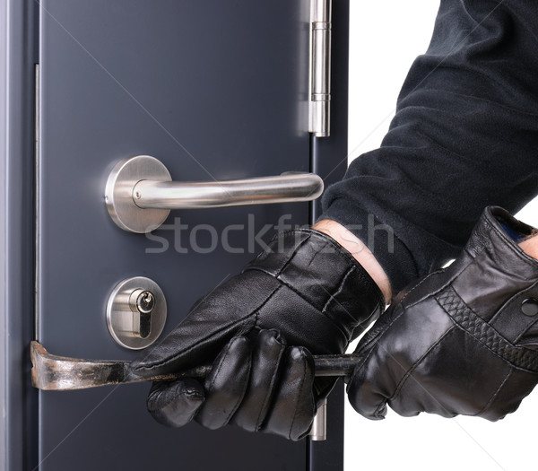 Bűnözés acél ajtó ház ablak maszk Stock fotó © hyrons