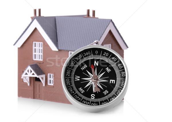 Bakıyor ev pusula küçük yalıtılmış iş Stok fotoğraf © hyrons