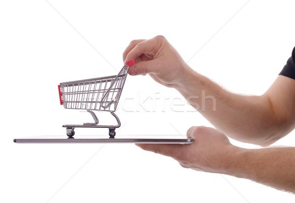 Online alışveriş alışveriş sepeti yalıtılmış beyaz iş Stok fotoğraf © hyrons