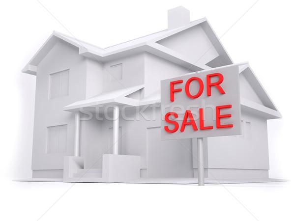 3D ev satış model gri ölçek Stok fotoğraf © hyrons