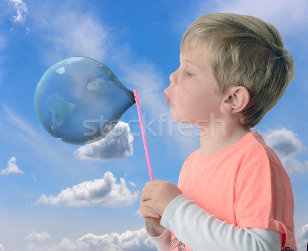 új világ fiú fúj buborék földgömb Stock fotó © hyrons