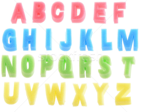 Spons alfabet schuim brieven geïsoleerd witte Stockfoto © hyrons