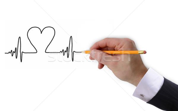 Kalp atışı grafik el yalıtılmış beyaz Stok fotoğraf © hyrons