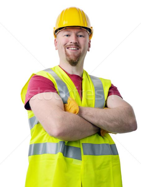 Yalıtılmış beyaz gülümseme erkekler mühendis Stok fotoğraf © hyrons