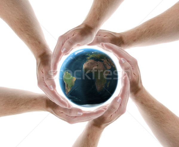 hand circle protecting planet Stock photo © hyrons