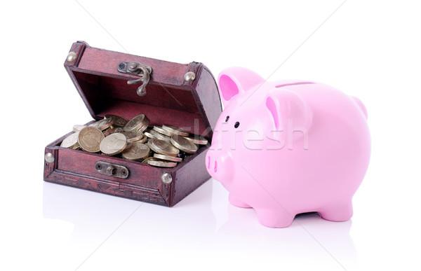 Spaarpot borst spaarvarken vol munten witte Stockfoto © hyrons