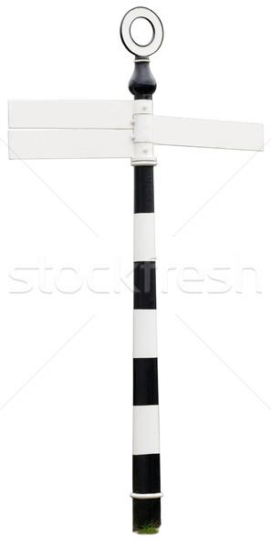 Teken post drie manier wegwijzer blauwe hemel Stockfoto © hyrons