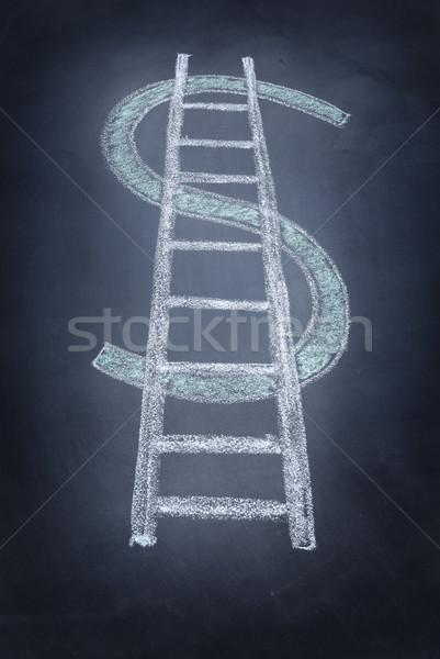 Dolar merdiven dolar işareti simge tebeşir Stok fotoğraf © hyrons