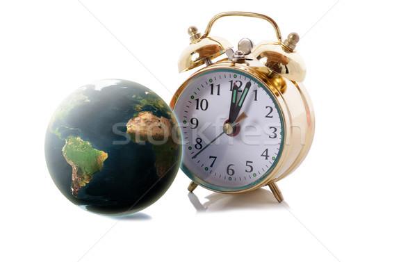 Wereld klok geïsoleerd witte drop schaduw Stockfoto © hyrons