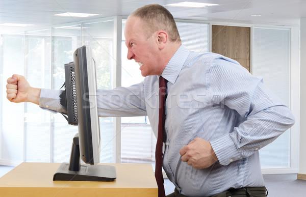 Kötü gün işadamı ofis öfke bilgisayar ekranı Stok fotoğraf © hyrons