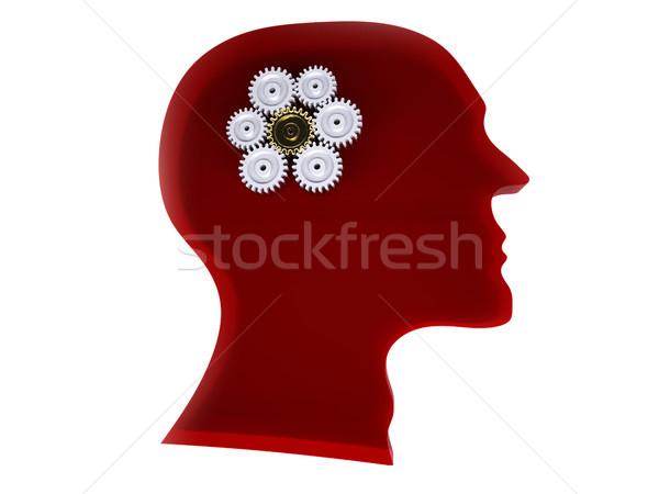 Istihbarat kırmızı cam beyin etkinlik dişli Stok fotoğraf © hyrons
