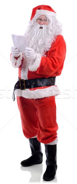 Mikulás karácsony lista olvas izolált fehér Stock fotó © hyrons