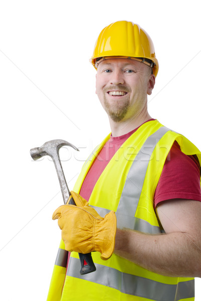 Carpenter Contractor Man Hardhat Isolated on White Stock photo © hyrons