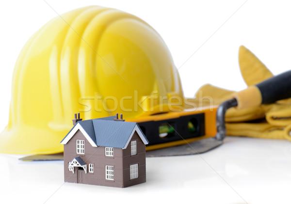 építkezés modell ház szerszámok izolált fehér Stock fotó © hyrons