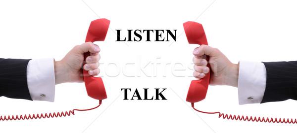 Dinlemek konuşmak kırmızı telefon yalıtılmış beyaz Stok fotoğraf © hyrons