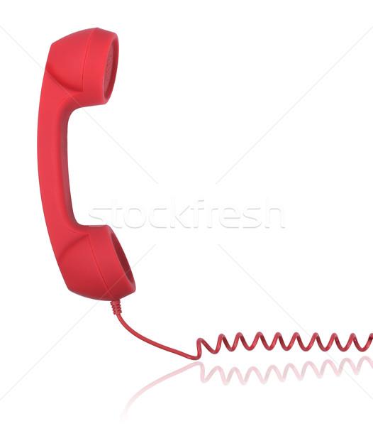 çağrı yalıtılmış beyaz telefon temas kablo Stok fotoğraf © hyrons
