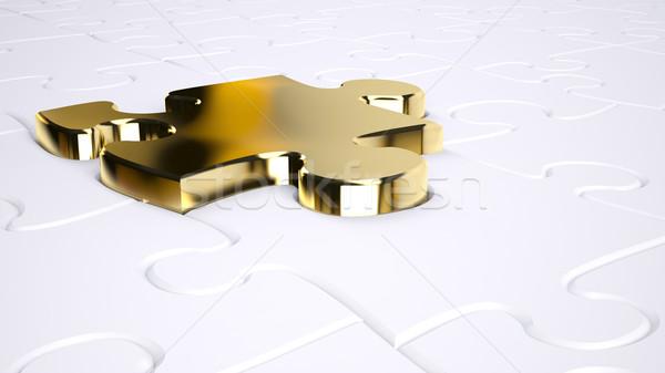 Arany fűrész egy puzzle kulcs siker Stock fotó © hyrons